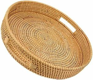 Rattan Basket Round Coffee Table Tray Hand Woven Serving Trays