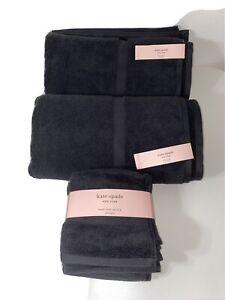 KATE SPADE NEW YORK ~ 6 PIECE HARRINGTON TOWEL SET IN Black ~ 100% COTTON ~ NEW!