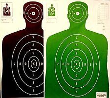 Paper Shooting Targets 25 Black/25 Green Silhouette Gun Pistol Rifle B-27 Qty:50