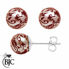 BJC® Sterling Silver Painted Rose Pearl Stud 6mm Ball Earrings New Design