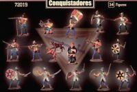 MARS Spanish Conquistadores Explorers 30 w 4 dogs UNPAINTED PLASTIC 1/72 72019
