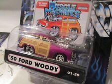 1 Muscle Machine '50 ford woody purple funline custom blower  1:64 scale maisto