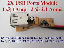 DC 12V - 24V Step-down 5V 2 USB 1A & 2A Charger Power Module Solar Phone MP3 PSP