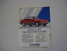 advertising Pubblicità 1991 HYUNDAI S-COUPE' SCOUPE