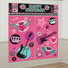 ROCKER PRINCESS Scene Setter HAPPY BIRTHDAY party wall decoration kit 6' guitars