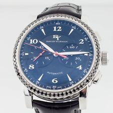 David Yurman Stainless Steel Classic Chronograph Watch w/ Black Diamond Bezel