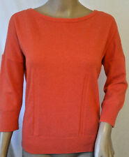 Ann Taylor Button Back Sweater Size Small Coral Pink Wool Cashmere Blend 3/4 Slv