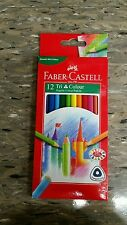 1 Pack of 12 Faber Castell Tri Colour Colouring Pencils Triangular Grip NEW