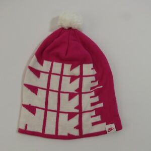 Nike Pink Stocking Cap Spell Out Logo Beanie Hat One Size Fits Most