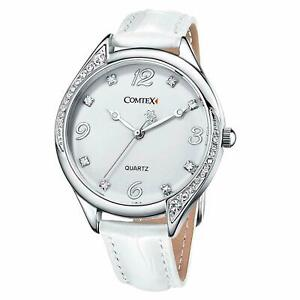 COMTEX Large White Dial Leather Strap Ladies / Girls Watch