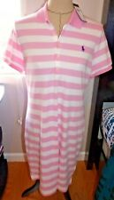 POLO RALPH LAUREN Ladies Polo Dress  CLASSIC PINK WIDE STRIPE Size X-LARGE  NWT