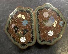 More details for cloisonne enamel oriental vintage butterfly belt buckle