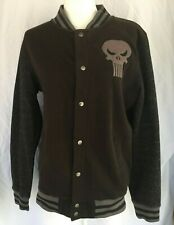 MARVEL Mens Punisher Black Skull Logo Snap Up Utilty Jacket Size Small