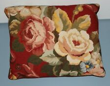 Chic PETIT POINT Pillows BIG BEAUTIFUL ROSES Velvet SHABBY