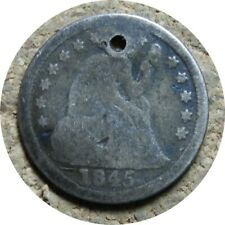 elf Seated Liberty Dime 1845  Drapery at Elbow