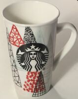 Starbucks Siren Mermaid Logo Geometric Trees 16 oz Coffee Mug / Tea Cup White