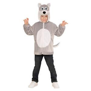 Kinder Wolf Kostüm aus Plüsch mit Kapuze und Tierkopf 92 98 104 116 für Karneval
