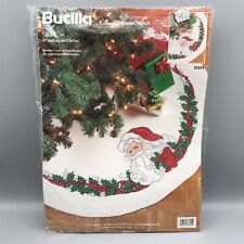 Bucilla Santa Tree Skirt 83694 Cross Stitch Kit Holly Christmas