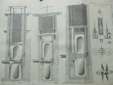ANTIQUE PRINT C1880'S SCREW PROPELLER LIFTING GEAR ENGRAVING DIAGRAM ENGINEERING