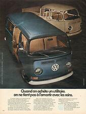 Publicité Advertising 1972  Utilitaire VOLKSWAGEN camionnette fourgonnette  VW