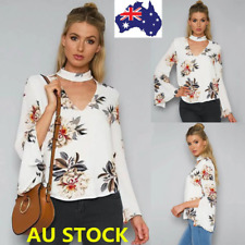 AU Women Long Sleeve Floral Tops Flared Sleeve V Chocker Neck Blouse Loose Shirt