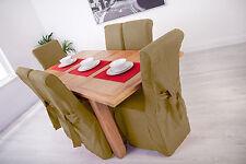 Set di 4 SABBIA LINO TESSUTO SEDIA da pranzo copre per SUP alta in pelle sul retro