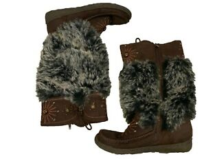 Unbranded WOMENS TALL brown Mukluks with rabbit fur Size 39 on bottom,10.5 inchs