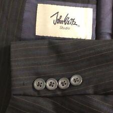 John Weitz Studio Navy Blue Striped 2 Piece Suit Men Size 48L 36x30
