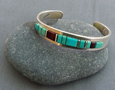 New Navajo EPB Sterling Turquoise & Sugilite Abstract  Mosaic Cuff Bracelet