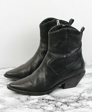 ALL SAINTS Brown Leather Western Cuban Ankle Boots, Size EU 40 / UK 7
