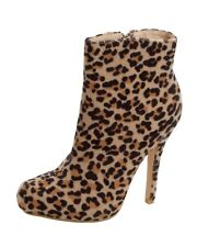 WOMENS LEOPARD ANIMAL PRINT HIGH HEEL SMART ANKLE BOOTS SHOES LADIES UK SIZE 3-8