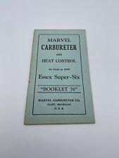Marvel Carbureter And Heat Control 1930 Essex Super Sic Booklet 76