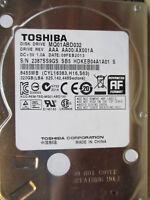 """320 GB Toshiba MQ01ABD032 AX001A SB5 08FEB2013 2,5"""" disco rigido PCB OK"""