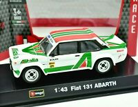 Model Car Rally Scale 1:43 Bburago Fiat 131 Abarth Alitalia diecast Racing
