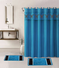 15PC AQUA BLUE BUTTERFLY BATHROOM SET 2BATH MATS 1SHOWER CURTAIN FABRIC HOOKS
