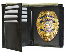 GOLD CONCEALED CARRY  BADGE and WITH LEATHER WALLET Badge Holder