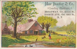 Antique trade Card   Max Stadler & Co. Broadway, NY  - Leading Clothiers ,suits