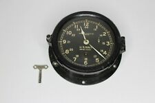 """Vintage Wwii U.S. Navy Chelsea Clock Co Boston 6"""" Face with Key Ser No. 9099E"""