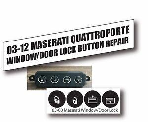 03-12 Maserati Quattroporte Door Lock Window Matte Black Button Repair Stickers