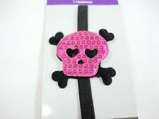 "Fashion Black Elastic Head Band sequin 2"" shiny Pink Candy Skull Heart eye New"