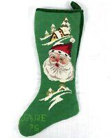 """Vtg Handmade Needlepoint Christmas Stocking Santa Snow Scene Velvet """"Jane"""" 1975"""