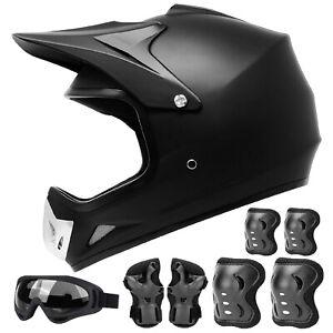 Youth Kids Motorcycle Helmet Motocross ATV Helmet Goggles Protection pads Black