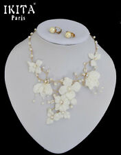 Luxus Schmuckset Set Halskette Ohrringe IKITA Paris Hochzeit Braut Stoff Kristal