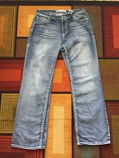 BKE TYLER BootCut Jeans Mens sz 34L 34x34 Buckle Medium Blue Tinted Wash Hemmed