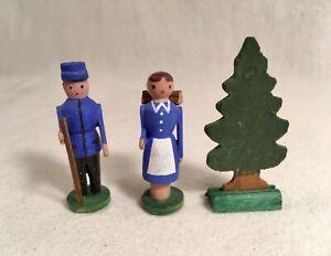Old Vintage Erzgebirge Wood Mountain  Man, Woman, Christmas Tree Lot