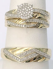 10k Yellow Gold Trio His Her Men Womens Flower Style Diamond Wedding Rings Bands
