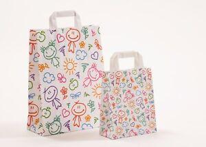 Papiertragetaschen Happy Papiertüten Tüten Kinder bunt verschiedene Größen