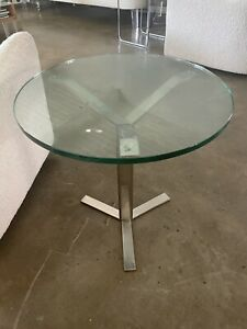 Bernhardt style chrome and round glass end table.
