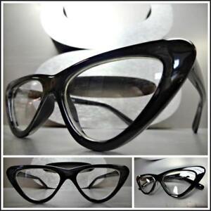 Women CLASSIC VINTAGE 60s RETRO Cat EYE Style Clear Lens EYE GLASSES Black Frame