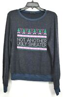Wildfox Womens Blue Crew Neck Sweet Stitch Ugly Sweater Brushed Knit Pullover XS